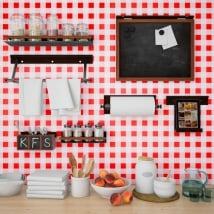 Fotomurales vinilos paredes cocinas cuadrados rojos vichy