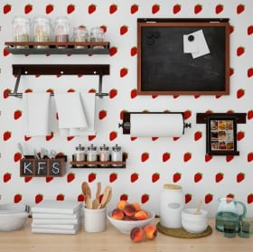 Fotomurales vinilos paredes cocinas fresas