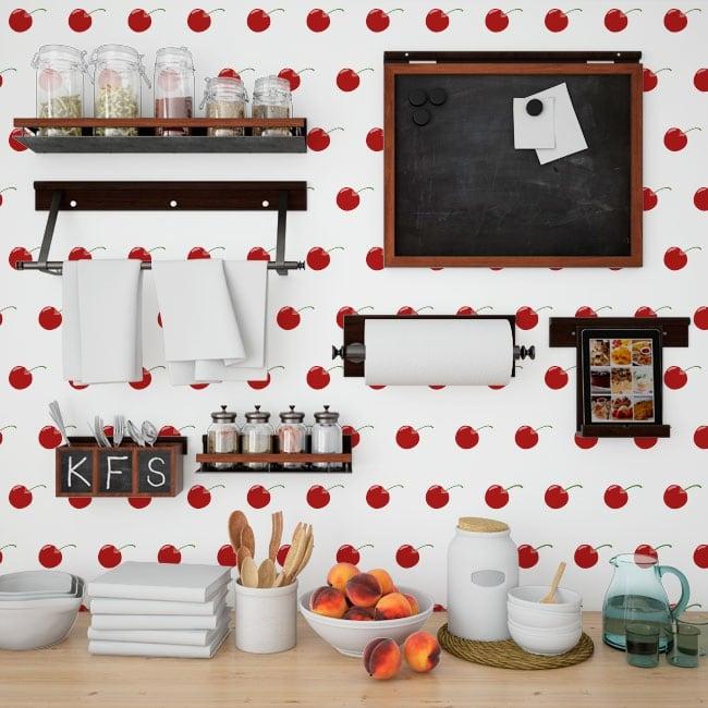 Fotomurales vinilos paredes cerezas cocinas