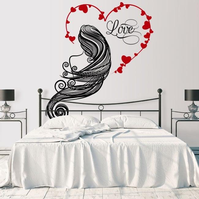 Vinilos paredes silueta mujer corazón love