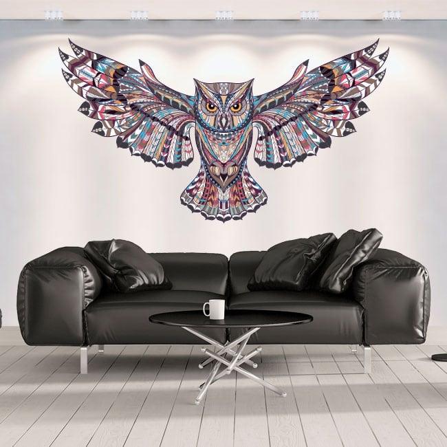 Vinilos decorativos paredes búho tribal