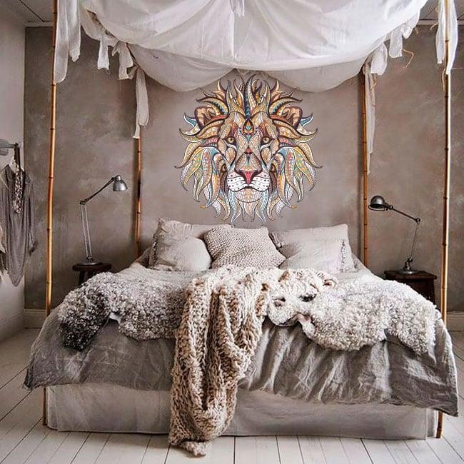 Vinilos decorativos paredes león tribal