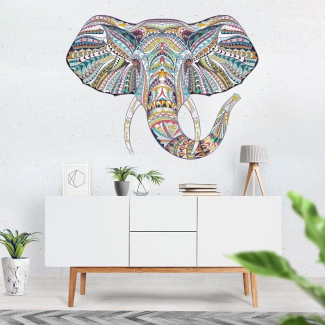 Vinilos decorativos elefante tribal