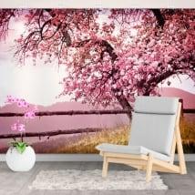 Fotomurales vinilos paredes cerezo japonés
