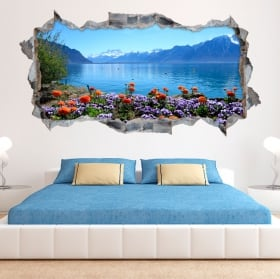 Vinilos paredes flores en el lago lemán suiza 3d