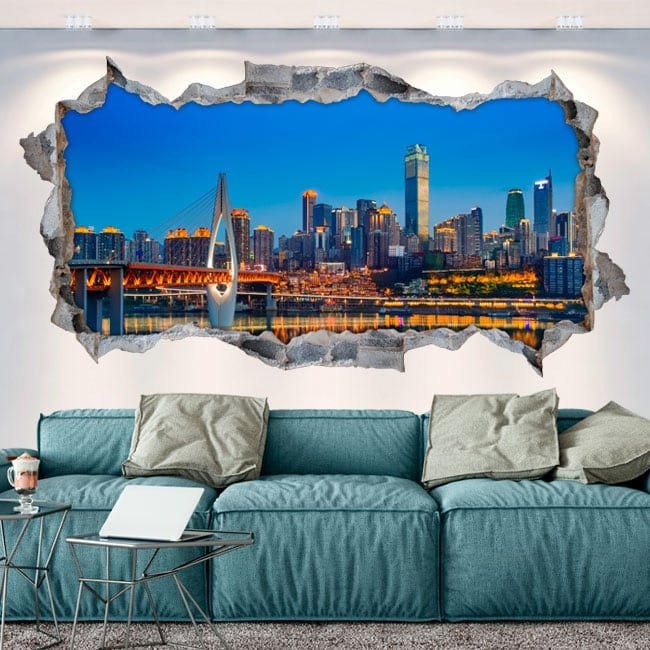 Vinilos paredes china ciudad de chongqing 3d