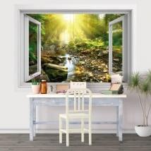 Vinilos atardecer río en el bosque ventana 3d