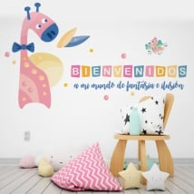Vinilos infantiles jirafa y pájaro bienvenidos a mi mundo