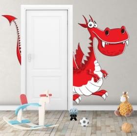 Vinilos infantiles dragón para puertas