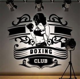 Vinilos y pegatinas club de boxeo silueta mujer