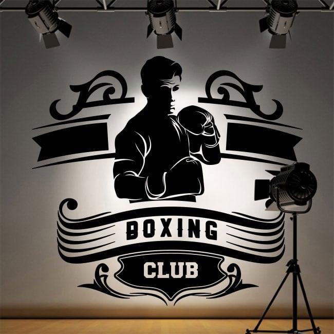 Vinilos decorativos club de boxeo silueta hombre