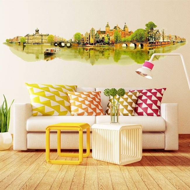 Vinilos paredes ilustración acuarela amsterdam