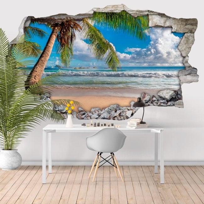 Vinilos paredes palmera playa 3d