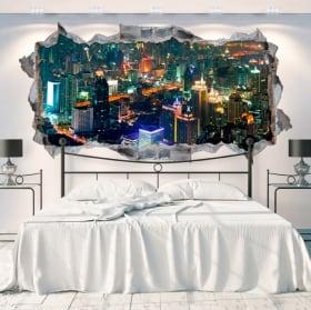 Vinilos paredes panorámica ciudad bangkok tailandia 3d