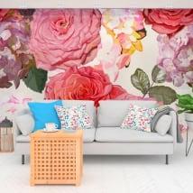 Fotomurales de vinilos con flores hortensias
