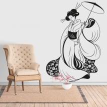 Vinilos decorativos silueta mujer japón