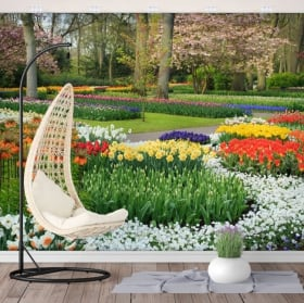 Fotomurales de vinilos jardín con flores
