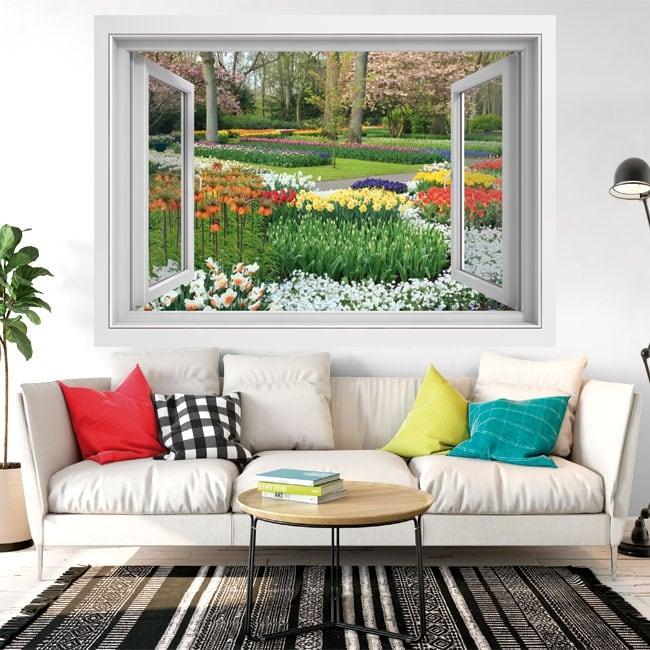 Vinilos decorativos ventana flores en el jardín 3d