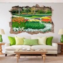 Vinilos 3d jardín con flores
