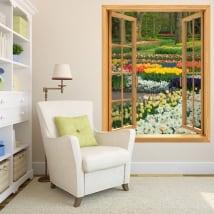 Vinilos ventanas flores y tulipanes jardín 3d