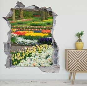 Vinilos y pegatinas jardín flores y tulipanes 3d
