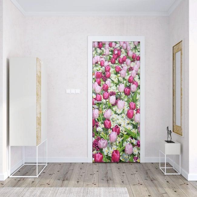 Vinilos para puertas flores tulipanes