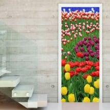 Vinilos puertas flores tulipanes de colores