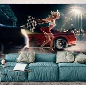 Fotomurales de vinilos carrera de coches