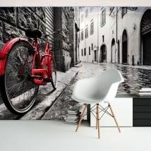 Fotomurales de vinilos ciudad y bicicleta retro