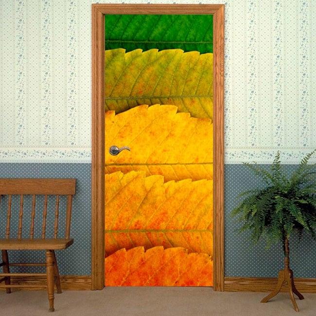 Pegatinas para puertas estaciones hojas árboles