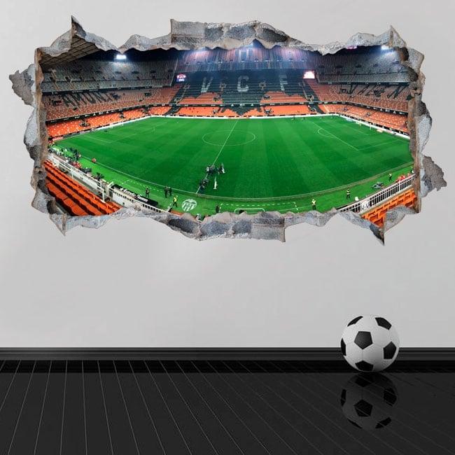 Vinilos pared 3d panorámica mestalla valencia club de fútbol