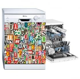 Vinilos lavavajillas collage de letras