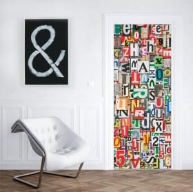 Vinilos para puertas y armarios collage de letras