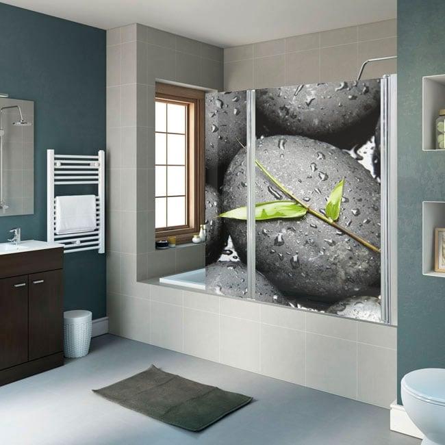 Vinilos decorativos mamparas baño piedras zen