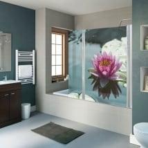 Vinilos decorativos mamparas baños flor de loto