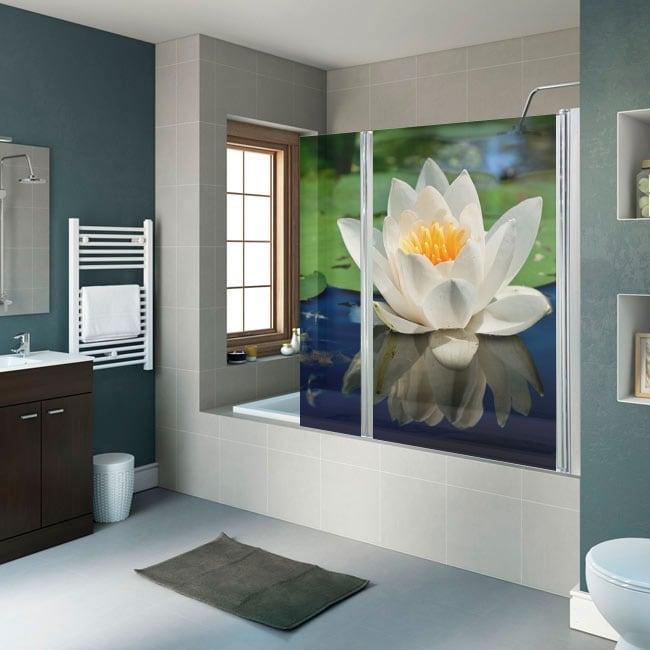 Vinilos y pegatinas mamparas baños flor de loto