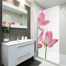 Vinilos mamparas baños flores de loto