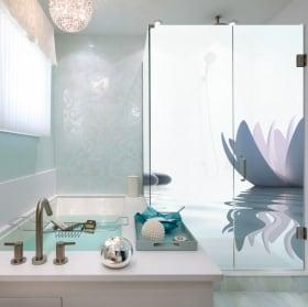 Vinilos mamparas de baños estilo zen