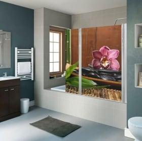 Vinilos para mamparas de baños decoración zen