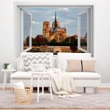 Vinilos 3d ventana catedral de notre dame parís francia