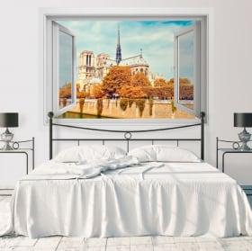 Vinilos decorativos catedral de notre dame parís francia 3d