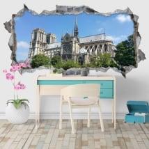 Vinilos decorativos catedral notre dame parís francia 3d