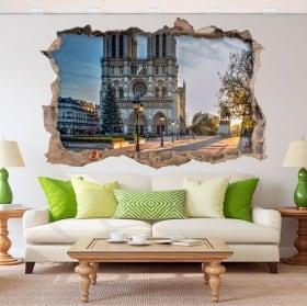 Pegatinas de vinilos 3d catedral notre dame parís francia