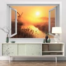 Vinilos paredes ventana 3d atardecer molino holanda