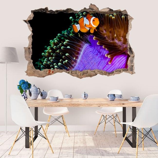 Vinilos paredes pez payaso y anémona 3d