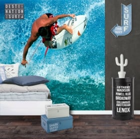 Fotomurales de vinilos surfista en la ola