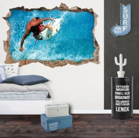 Vinilos decorativos 3d surfista en la ola