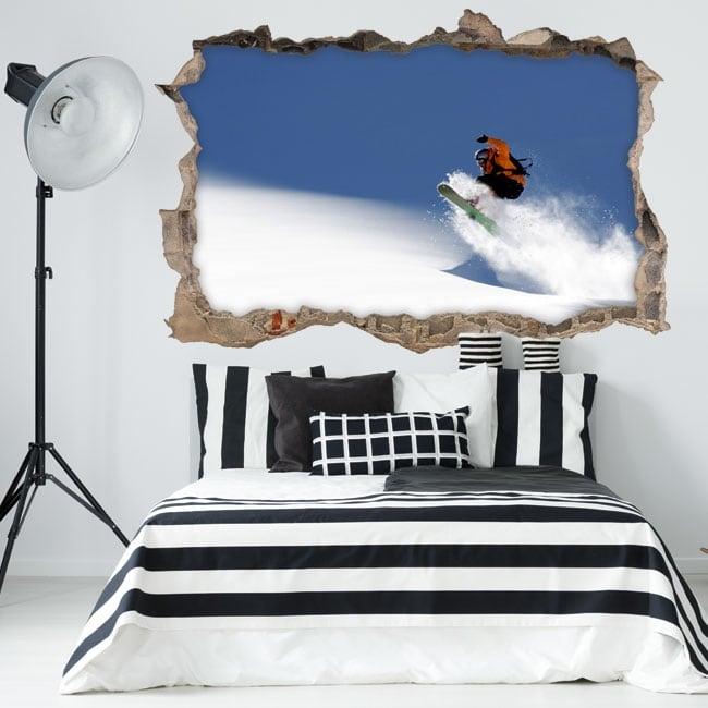 Pegatinas de pared 3d snowboard