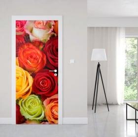 Vinilos para puertas rosas de colores