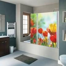 Vinilos para mamparas de baños flores tulipanes